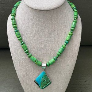Jay King BLUE/GREEN TURQUOISE SS Pendant Necklace